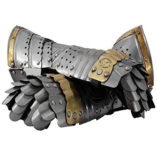 Hind Handicrafts Guantes articulados de caballero medieval, armadura de acero, 2 unidades, forro de piel, LARP, Halloween y dramas, acento de latón plateado
