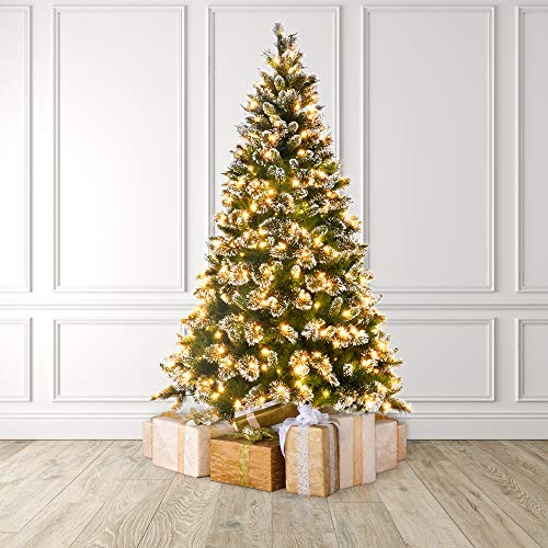 MARTHA STEWART Snow Frosted Tips Pre-Lit Artificial Christmas Tree, 7 Feet, Clear White Lights