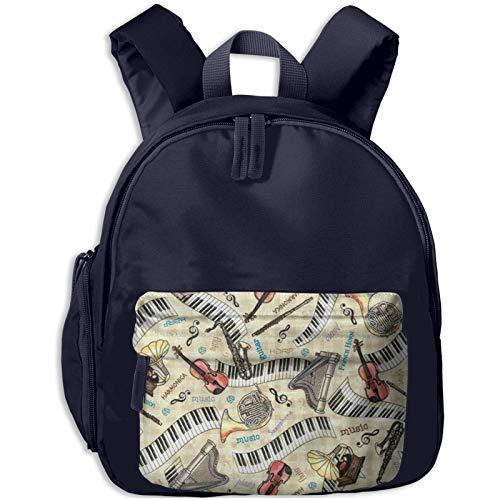 XCNGG Kids Backpack 3D Jazz Music Instruments Kindergarten Preschool Pocket Bags Rucksack Casual Daypack for Children Toddler Girls Boys Navy