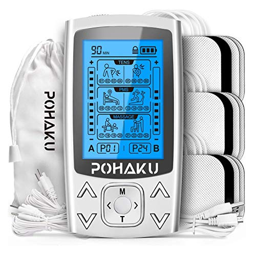 POHAKU Dual Channel TENS EMS Unit, 24 Modes TENS Unit Muscle Stimulator for Pain Relief Therapy & Muscle Conditioning, Suitable for People with Nerve, Joint, Neck or Back Pain (FSA or HSA Eligible)