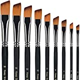 Angular Paint Brush, 9PC Oblique Tip Nylon Hair Long Handle Angled Paint Brushes Set Art Artist Professional Painting Supplies for Acrylic, Watercolor, Gouache and Oil Painting