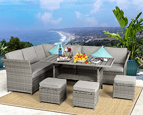 Aoxun 7 Pieces Outdoor Furniture Set, Sectional Sofa Conversation Set with Cushions and Pillows, All Weather Wicker Rattan Suitable for Deck or Yard(Gray)