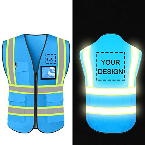 Personalized High Reflective Visibility Safety Vest Custom Your Logo Protective Safety Workwear with Reflective Strips and Front Zipper(Blue Medium)