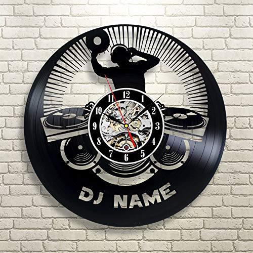 Smotly Vinilo Pared Reloj, Personalizado Gran diseño DJ Gran decoración de la Pared Relojes, música Hecha a Mano Regalos Reloj de Pared,A