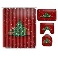 クリスマスシャワーカーテン4点セット メリークリスマスイブ クリスマスツリーギフト フェスティバル 防水 ポリエステル サンタバスカーテンセット 装飾 フック12個付き A1-29.5x17.7インチ
