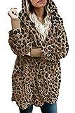 Zilcremo Mujer Lana Chaqueta Crdigan con Capucha Frente Abierto Abrigo Fleece de Piel Sinttica Invierno Leopard M