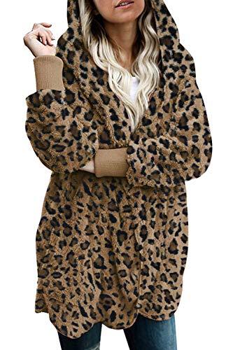 Zilcremo Mujer Lana Chaqueta Cárdigan con Capucha Frente Abierto Abrigo Fleece de Piel Sintética Invierno Leopard S