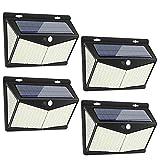 Luce Solare LED Esterno, 208 LED Lampada Solare Super Luminosa Wireless Luce Solare con Sensore di Movimento, Impermeabile Luci Solari da Parete con 3 Modalità & Grandangolo 270° per Giardino(4 Pezzi)