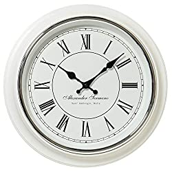 Whole House Worlds Classic Analog White Wall Clock, Italian Style, Sant Ambrogio, Quartz Movement, Roman Numerals, Over 1 Ft Diameter, Requires 1 AA Battery (Not Included)