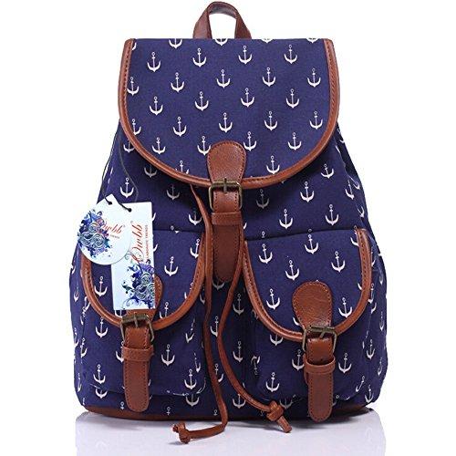 Owbb® Weiß Anker Marineblau Leinwand Drucken Damen Mädchen Rucksack Reisetasche/Kinder Twin Tasche Rucksäcke