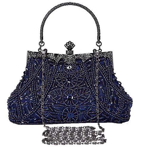 Selighting Cartera de Mano Fiesta Vintage, Clutch Mujer Elegante Bolso de Noche Bolsos de Embrague con Cuentas para Fiesta Cóctel Ceremonia Boda Novia (Azul)