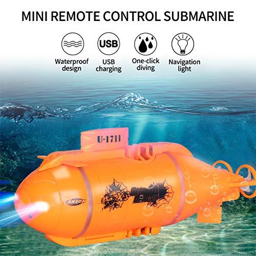Mini-U-Boot mit Fernbedienung,Mini-Wasserfahrzeug Mit LED-Lichtern,Mini-Außenboot im Außensee,USB-Aufladung, automatisches Einschalten bei Berührung mit Wasser Für Badewanne, Schwimmbad,See