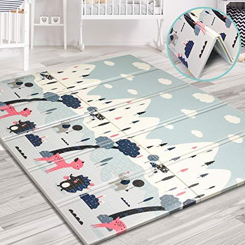 Aitere Baby Spielmatte, 200 x 180 x 1,5 cm, Faltbare Baby Bodenmatte, umweltfreudliches XPE Material, beide Seiten bespielbar, wasserdicht und ungiftig, BPA Frei, große Kinderspielmatte/Tierpark