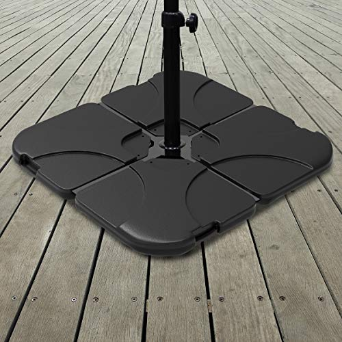 Pure Garden 50-LG1177 Stand – 220 Lb. Capacity, 4-Piece Fillable Weighted Cantilever and Offset Umbrella Base with Handle for Deck, Patio and Yard