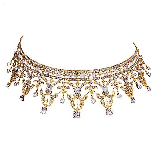 LFDHG Europa Royal Gold Crown Coronas Taladro Cristal Novia Accesorios para Cabello Boda Moda Mujeres Joyas para Cabello Diadema para Cabello más Nueva