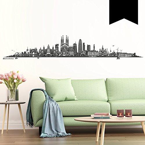 WANDKINGS Wandtattoo - Skyline Barcelona - 100 x 17 cm - Schwarz - Wähle aus 6 Größen & 35 Farben