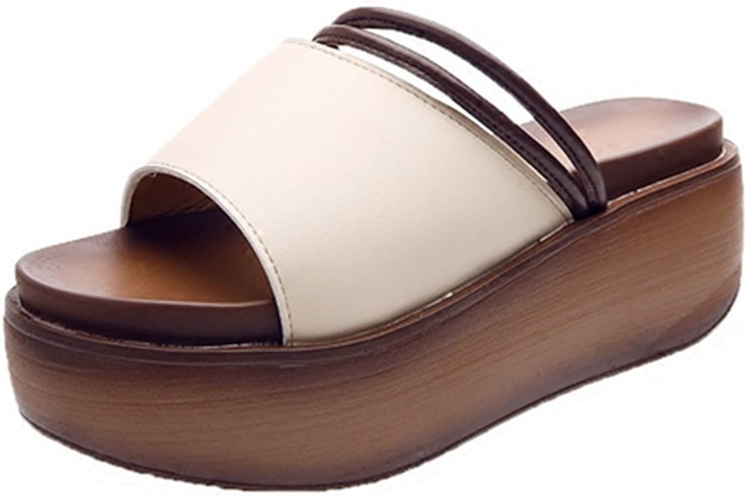 Weiwei Women's Summer Thick-Soled Sandals and Slippers, Sleek, Simple Breathable, Soft Wedge High Heel Slippers