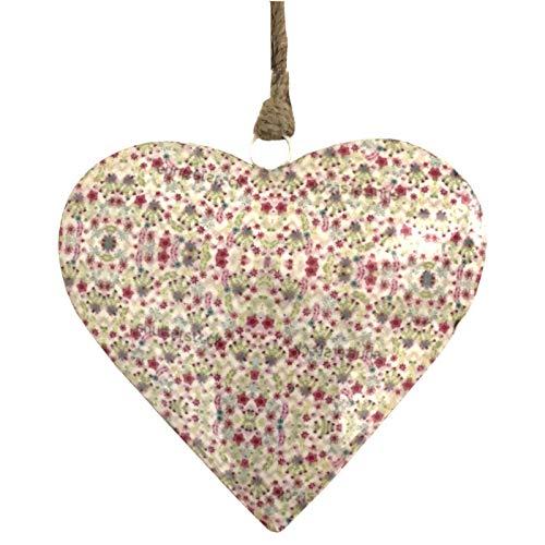 L'ORIGINALE DECO Cœur à Suspendre en Métal Fer Patiné Motifs Fleurs Blanc Émaille 12 cm x 12 cm