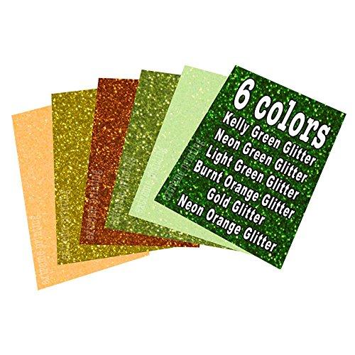 "Extreme Film Iron On Heat Transfer Vinyl 20"" x 12"" Each - 6 Color St. Patrick's Day Bundle (All Glitter Colors: Neon Green GL/Kelly Green GL/Light Green GL/Burnt Orange GL/Gold GL/Neon Orange GL)"