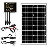 30 Watts Mono Crystalline 12V Off Grid Solar Panel Kit - Waterproof 30W Solar Panel + Photocell 10A Solar Charge Controller with...