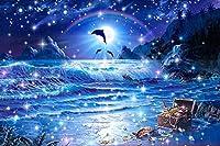 ダイヤモンド刺繍キット イルカ 風景海 45x65cm