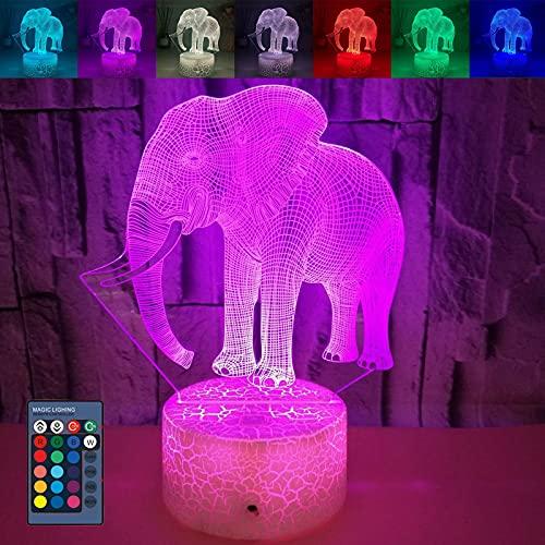 0℃ Outdoor Luz de Noche de Elefante 3D para Niños, Lámpara de Ilusión 3D, 16 Colores Cambiantes, Luz de Noche de Ilusión LED USB Colores Cálidos para Niños Bebés,Cracked Base