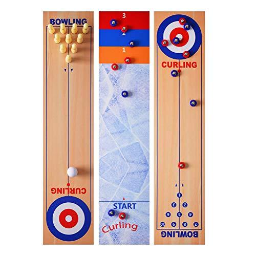 Prevessel Juego de mesa 3 en 1, juego de mesa para familias Bowling Shuffleboard Juego de mesa para juegos de familia Juego de curling Puzzle divertido juego educativo regalo para niños y adultos