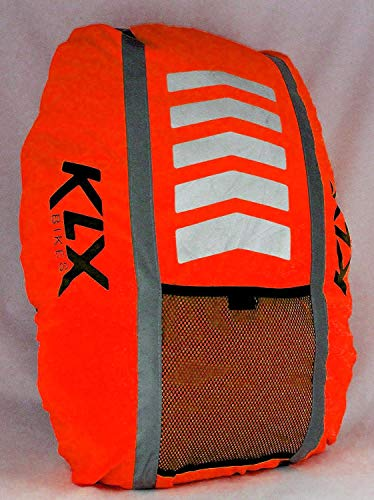 KLX Heavy Duty High Visibility Reflective Waterproof Rucksack Backpack Cover - New Improved (Orange)