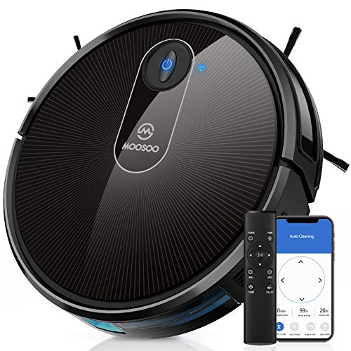 MOOSOO Robot Vacuum, Wi-Fi Connectivity, 120 Min Runtime Self-Charging Robotic Vacuum Cleaner, Works with Alexa & Google Assistant, Quiet, Super-Thin, Ideal for Pet Hair, Carpets, Hard Floors MT720