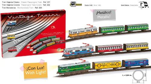 Tren Electrico Metálico de Viajeros con Luz 1 Locomotora 2 Vagones 203