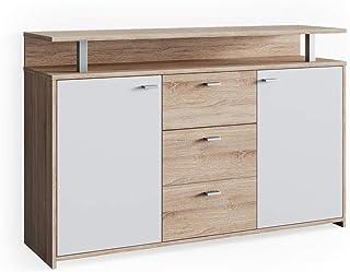Vicco Sideboard Lewis Highboard Kommode Anrichte Schrank 2 Türen 3 Schubladen Wohnzimmer (Sonoma Eiche/Weiß)