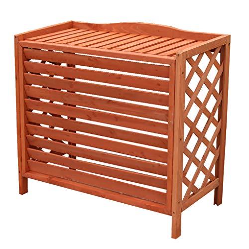 Copertura per condizionatore d'aria per fioriera in legno, cornice per aria condizionata multifunzione per vasi per piante, cornice decorativa per griglia esterna in legno retrò semplice - arancione