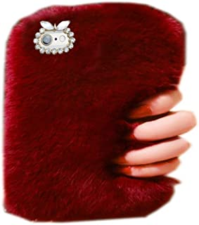 Super Deluxe Luxury Winter Fashion Bling Rhinestone Fuzzy Faux Rabbit Furry Fluffy Beaver Rex Rabbit Fur Protective Case for 8
