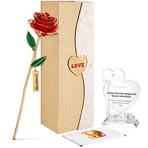 FORGIFTING Goldene Infinity Ewige Rote Rosen Blume, mit 1 Bilderrahmen,1 Grußkarte - Geschenke für Paare Frauen Mama Oma zum Geburtstag, Jahrestag, Adventskalender, Weihnachten, Valentinstag,Muttertag