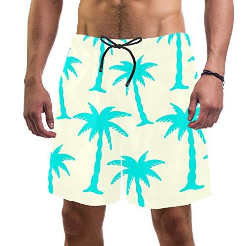 Pantalones cortos de playa para hombre, de secado rápido, con siluetas de bolsillo, palmeras de coco