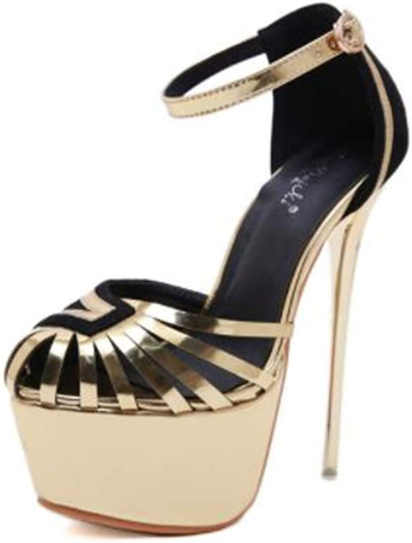 Flauriserande Kvinnors Stilettos Stilettos Stilettos Open Toe Pump Ankle Strap Hollow Hollow Super hög klack Plaforme Dress Pump skor  bästsäljare