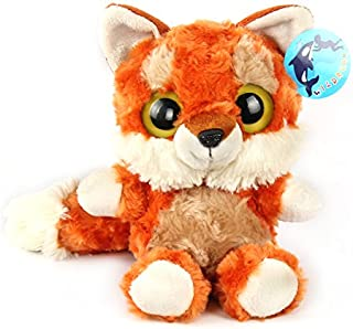 WILDREAM Red Fox with Furry Tail Stuffed Animals Lovely Big Eyes and Charming Smile