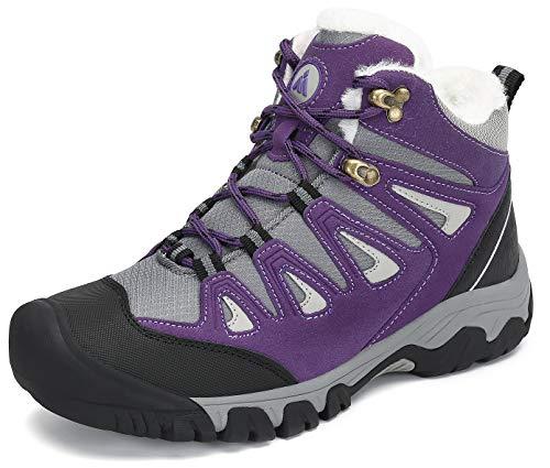 Mishansha Zapatillas de Senderismo Mujer Ligero Antideslizantes Trekking Botas Invierno Aire Libre Cálido Zapatos de Botas Morado Gr.38