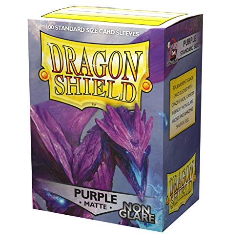 Dragon Shield Matte Non-Glare, Lila / Purple 100 Kartenfolien Kartenhüllen Sleeves - für Sammelkarten wie Pokemon Magic - Standardgröße