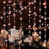 LAMEK 5pcs Kit de Guirnaldas de Lentejuelas Oro Rosa Guirnalda de Papel Decoración de Redonda Puntos Circulo Estrellas Banderines Colgante Banner para Fiesta de Cumpleaños Boda Bienvenida al Bebé