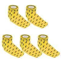 包帯テープ ペット包帯 不織布 犬 猫 自己粘着 通気性 動物用 5個 - イエロー, L