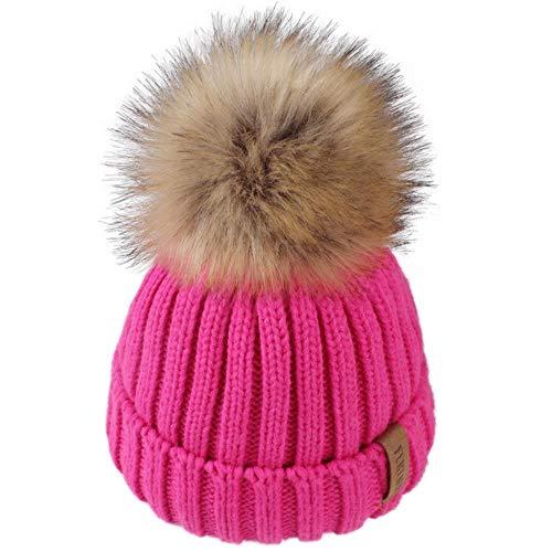 Hbno wintermuts voor kinderen, beanie, hoed, kleinkinderen, jongens, meisjes, breien, namaakbont, pompon, hoed, Age1-10 jaar, babykind, winter, katoen, gevoerde muts
