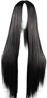 29.5'' Womens Long Straight Synthetic Black Wig Girls Anime Cosplay Halloween Costume Party Wig