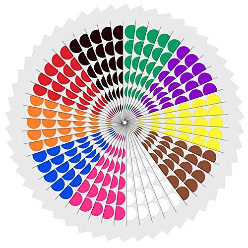 2,5cm Etichette Adesive Bollini Colorati Rotonde - 10 Colori, 1200 Pezzi