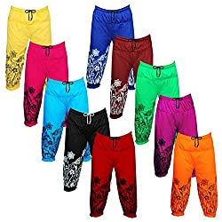Eazy Trendz Fashion Beautifully Gathered Printed Girls Casual Capri Threefourth Night Pant for Play Wear, Sleep Wear and Casual Wear 100% Cotton at (Pack of 10)