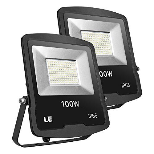 LE Foco LED Proyector de 100W 8000lm Blanco Frío 5000K, Resistente Al Agua IP65, Luces Exteriores LED para Almacén, Campo Deportivo, Jardines, Patios, etc (Paquete de 2)