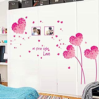 Love Pink Wall Stickers Living Room Tv Background Romantic Bedroom Removable Mural