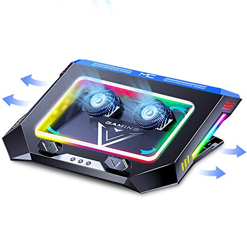 Laptop Cooling Pad for Gaming,Twin Turbo Fan,11.6-17.3 Inch Laptop Cooler Stand,4500 RPM High-Speed,Multiple RGB LED Screen, 7 Heights, 2 USB Ports Fast Heat Dissipation Notebook Mount