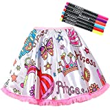RICHNESS Color Your Own Dress Princess Dress Up Skirt with Fabric Markers & Self-adhesive Jewels DIY Party Crafts for Girls Age 4-6