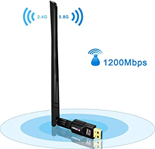 USB WiFi Adapter 1200Mbps,USB 3.0 Wireless Network WiFi Dongle with 5dBi External Antenna for PC/Desktop/Laptop/Mac, Dual ...